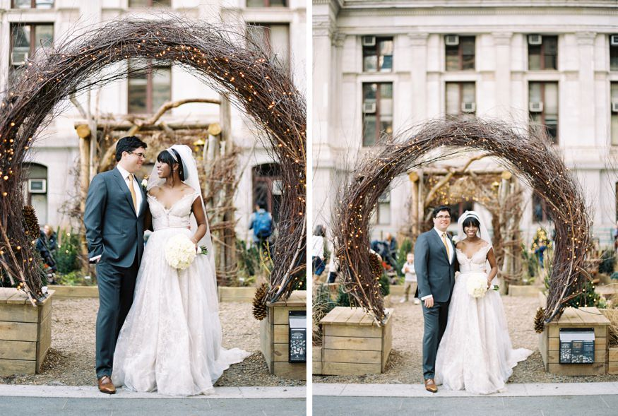 Bride & Groom portraits at City Hall in Philadelphia. Reception at Ritz Carlton Philadelphia wedding.
