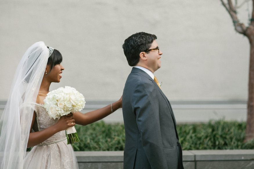 Bride and Groom first look at Ritz Carlton Philadelphia wedding.