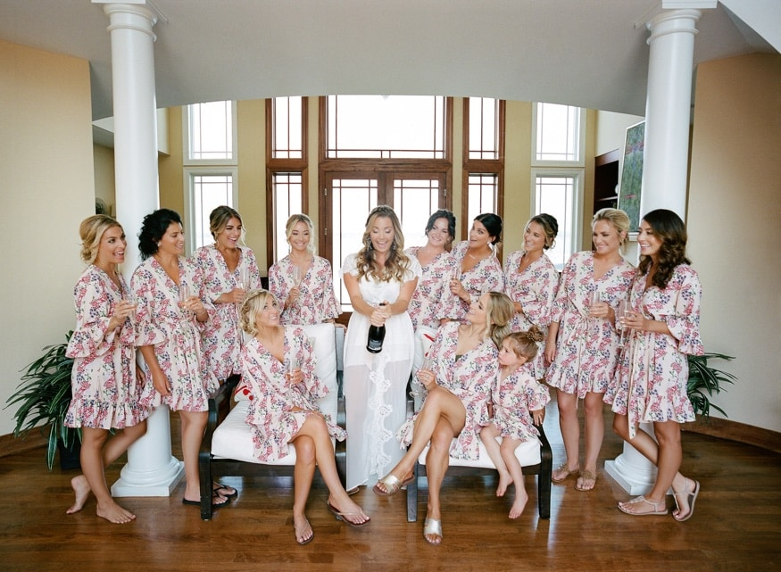 Bridesmaids getting ready before Windows on the Water Sea Bright wedding.