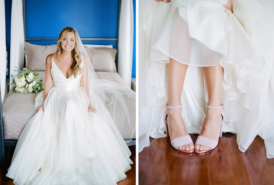 Bride's portraits before Windows on the Water wedding at Sea Bright.