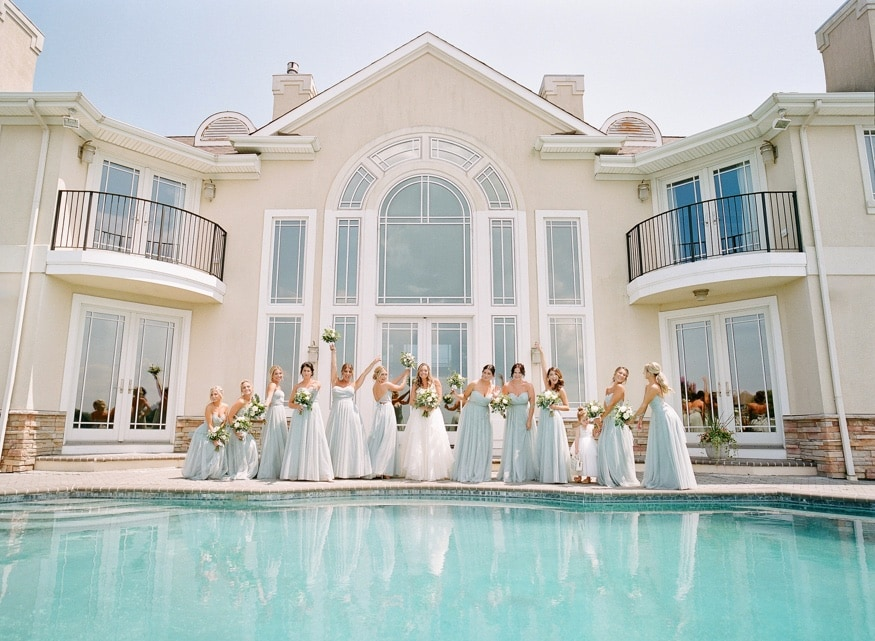Bridesmaids portraits before Windows on the Water wedding at Sea Bright.