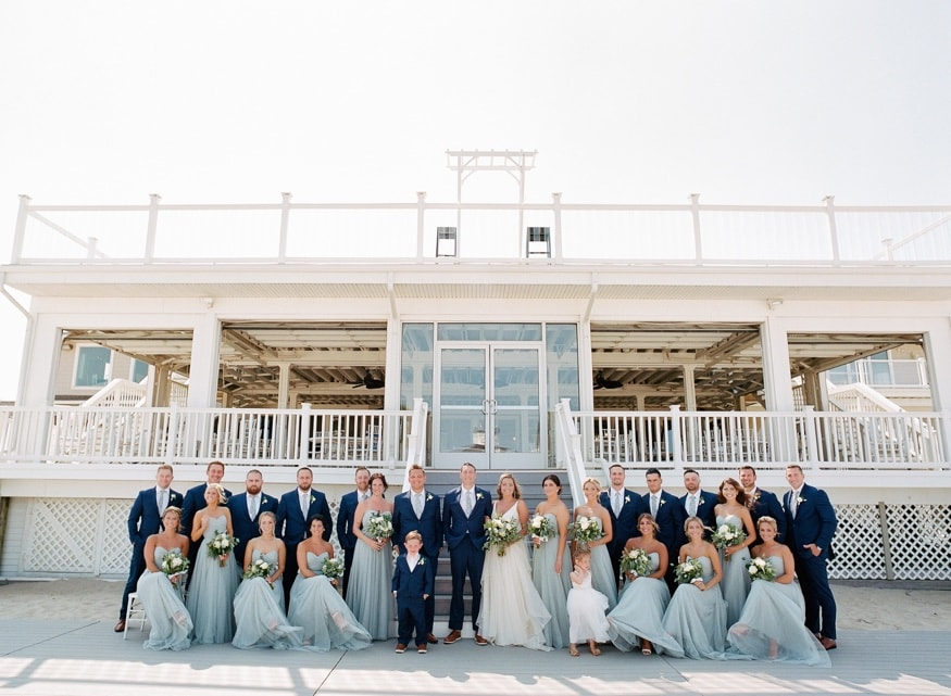 Bridal party portraits at Windows on the Water at Surfrider Beach Club.