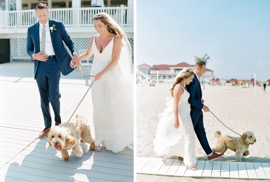 Bride and groom portraits with their dog at Windows on the Water wedding Sea Bright.