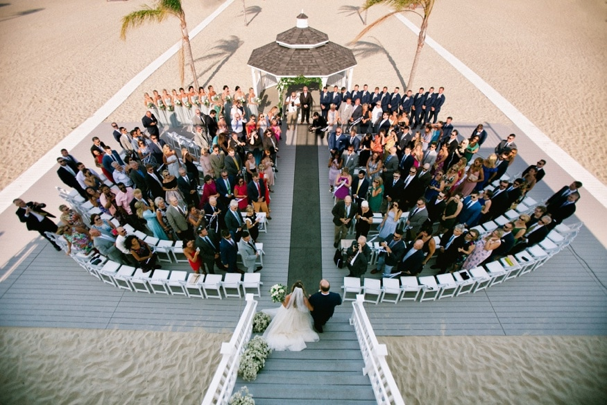 Outdoor wedding ceremony at Windows on the Water at Sea Bright.
