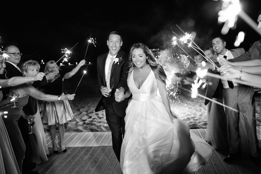 Night portraits with sparklers at Windows on the Water wedding at Sea Bright.