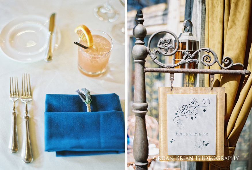 Place setting and sign at Rat's Restaruant Grounds for Sculpture wedding