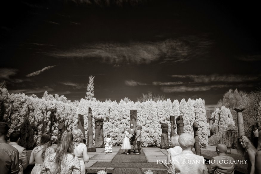Infrared photo at marriage ceremony at Grounds for Sculpture in Hamilton, NJ