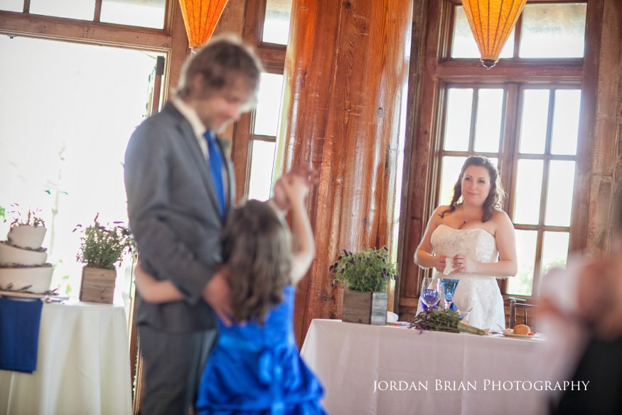 Bride watch father daughter dance at grounds for sculpture wedding