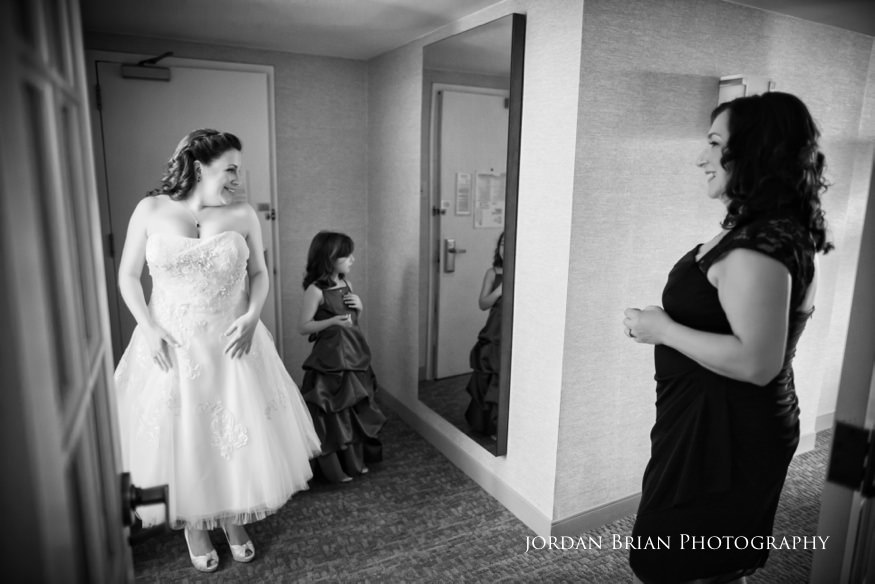 Bride in mirror before Grounds for Sculpture wedding