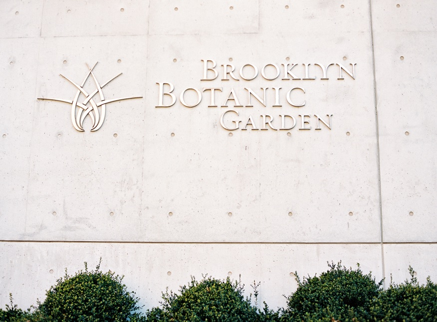 Spring Brooklyn Botanic Garden wedding front sign