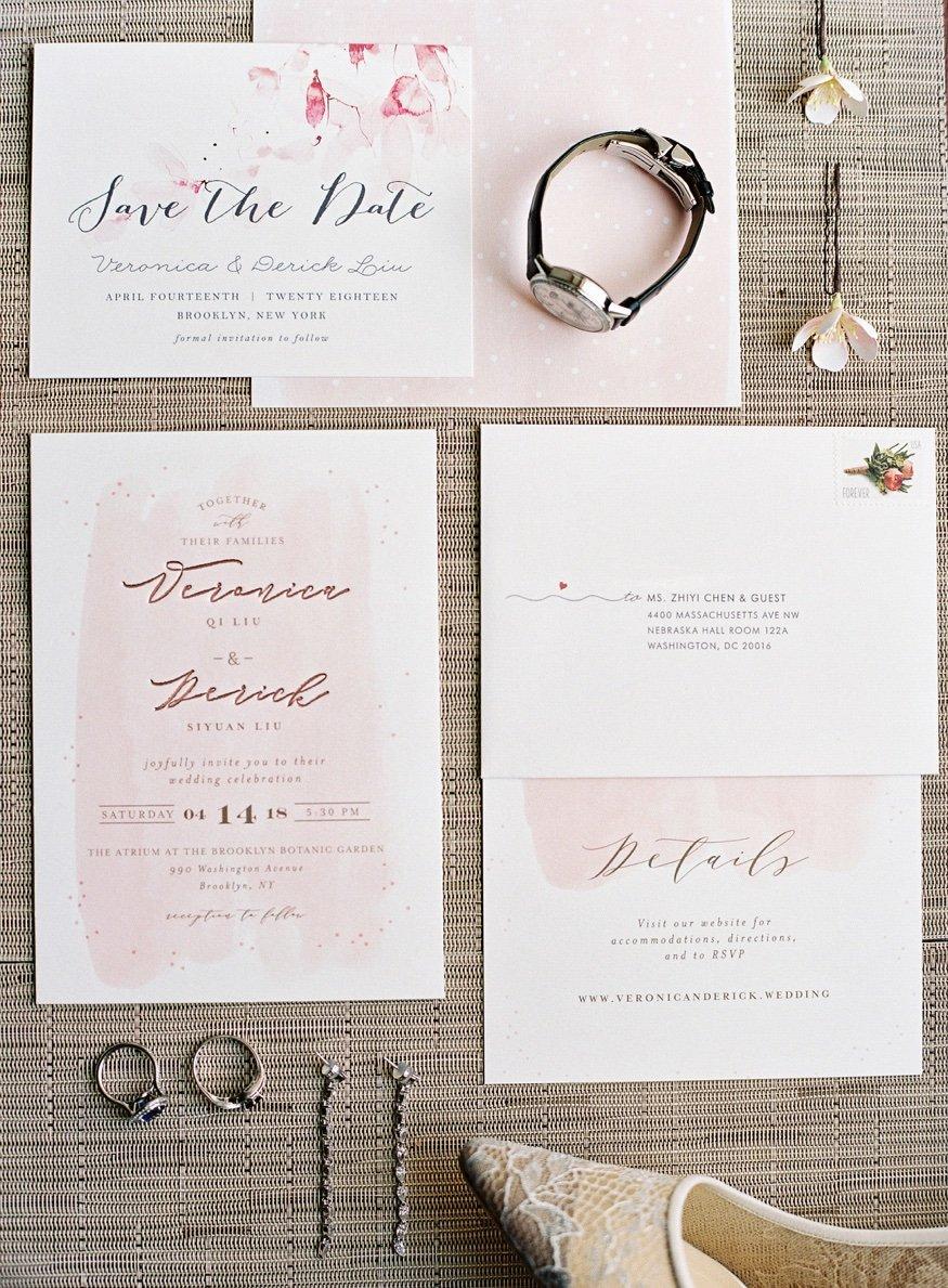 Wedding invitations by Minted for Brooklyn Botanic Garden weddng.