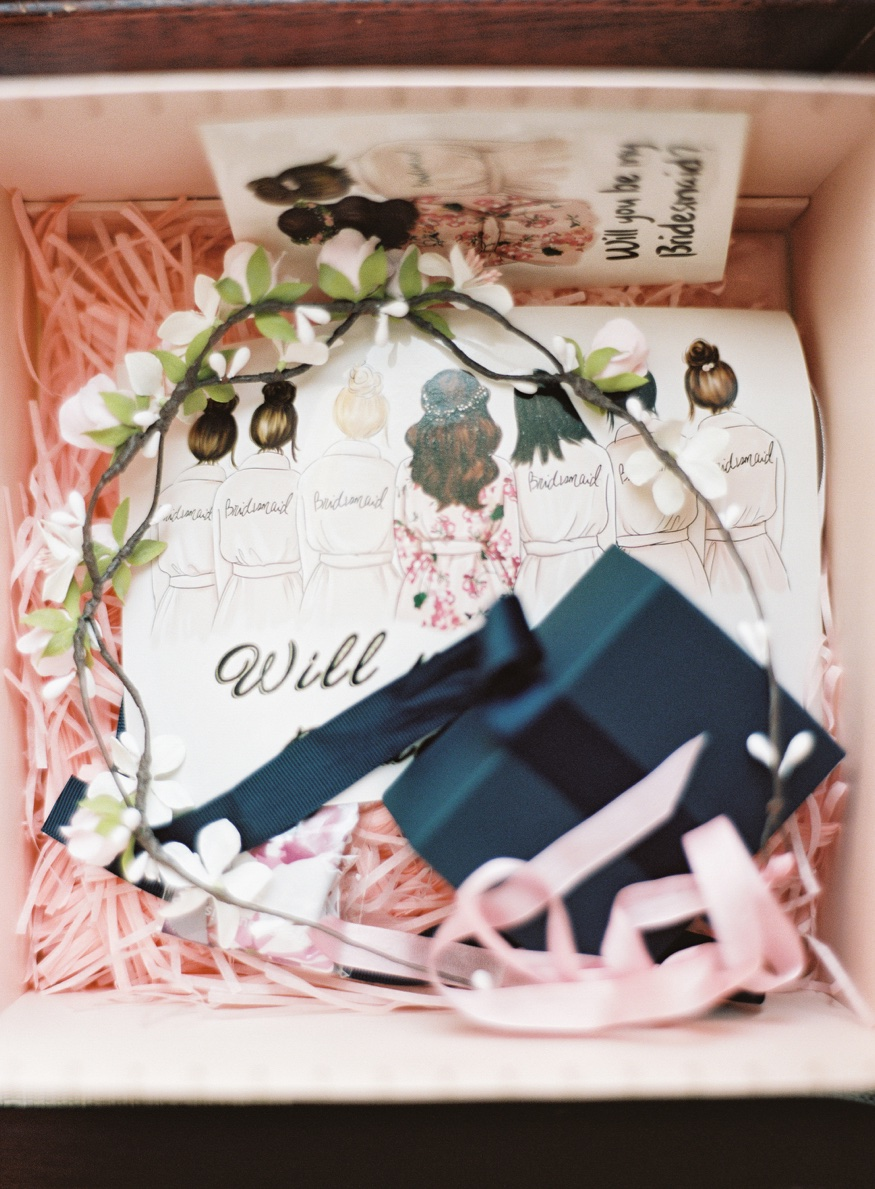 Bridesmaid's gifts before Brooklyn Botanic Garden wedding.