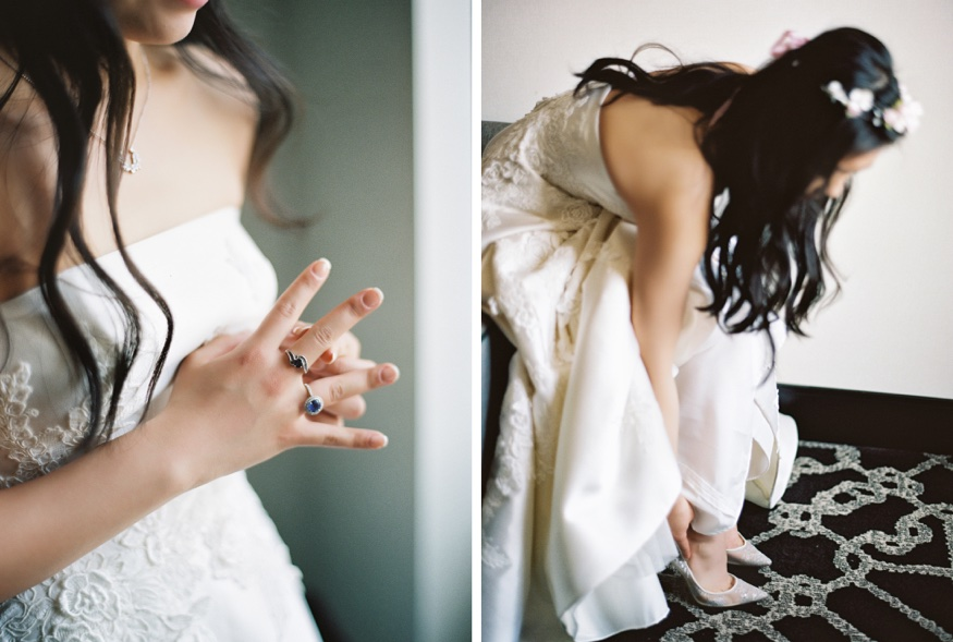 Bride getting ready before Brookyln Botanic Garden wedding. Wedding dress by Liancarlo from Kleinfeld Bridal.