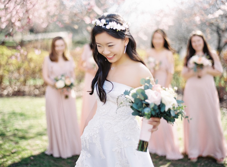 Bride's portraits at Brooklyn Botanic Garden wedding.