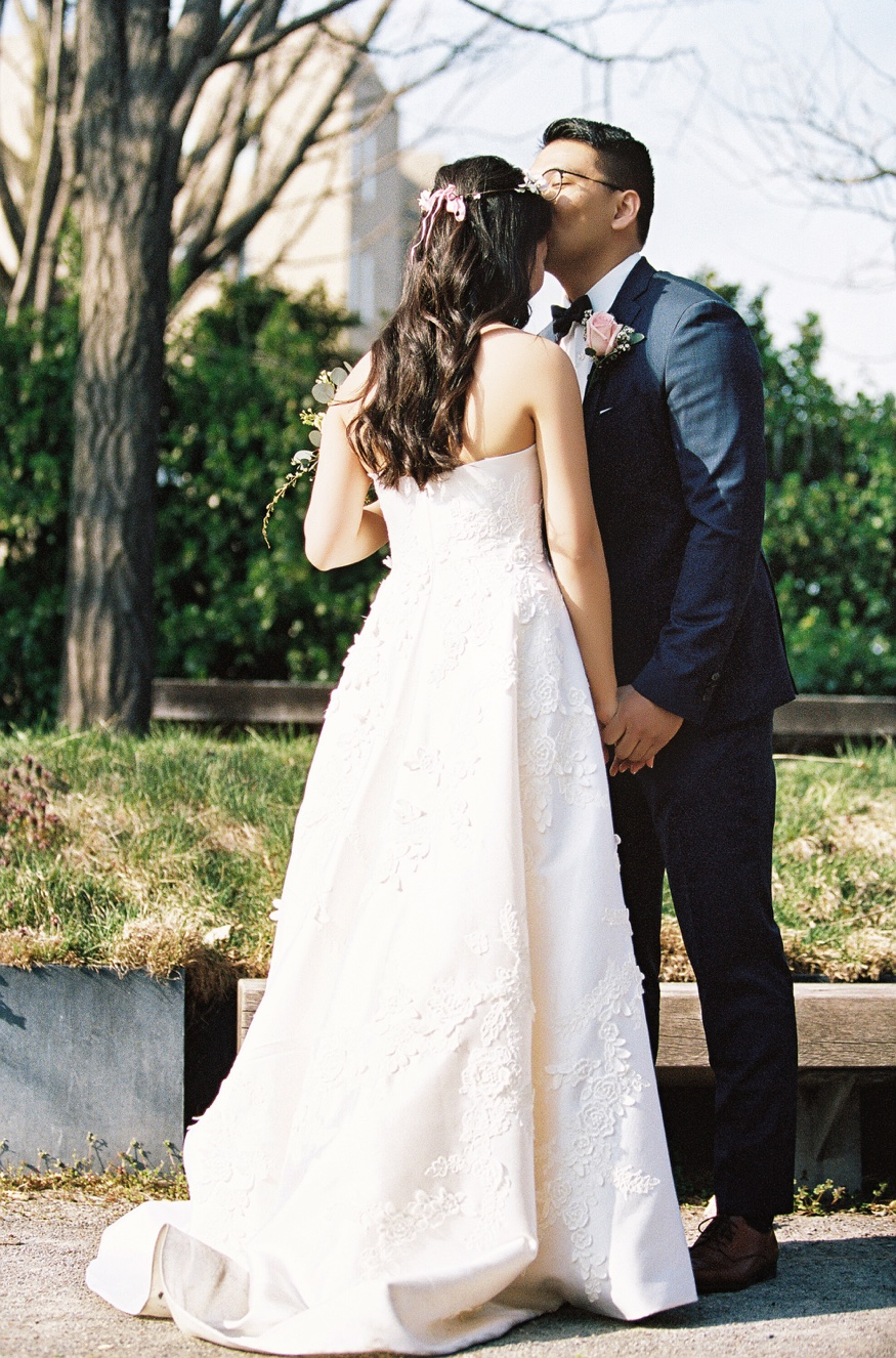 Bride and Groom first look at Brooklyn Botanic Garden wedding.