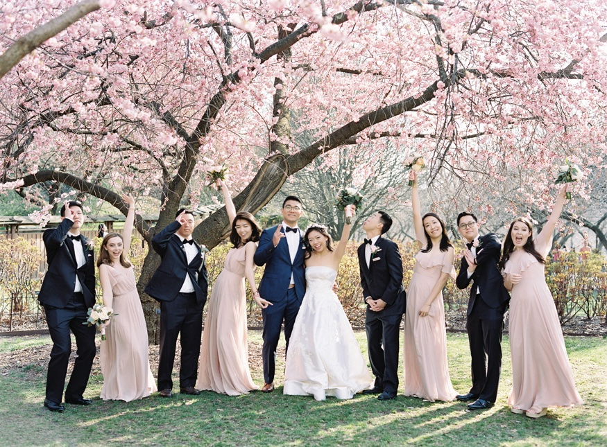 Bridal Party portraits by Cherry Blossoms at Brooklyn Botanic Garden wedding.