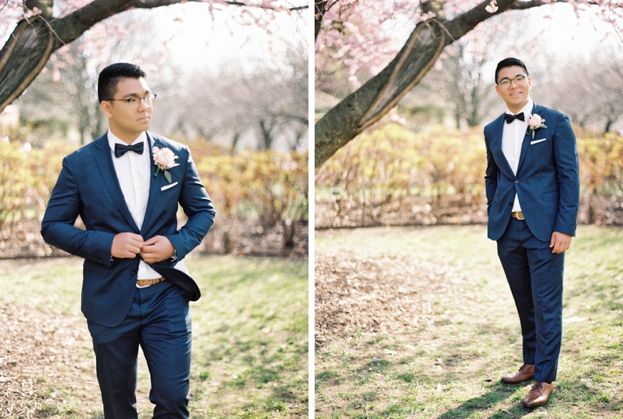 Groom's portraits at Spring Brooklyn Botanic Garden wedding.