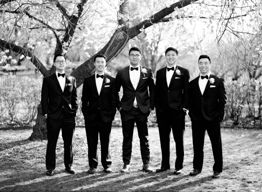 Groomsmen at Spring Brooklyn Botanic Garden wedding.