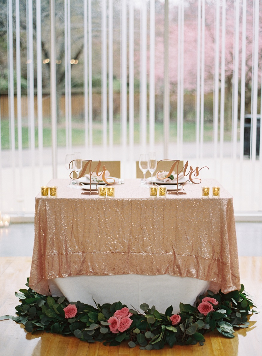 Reception details at Spring Brooklyn Botanic Garden wedding.