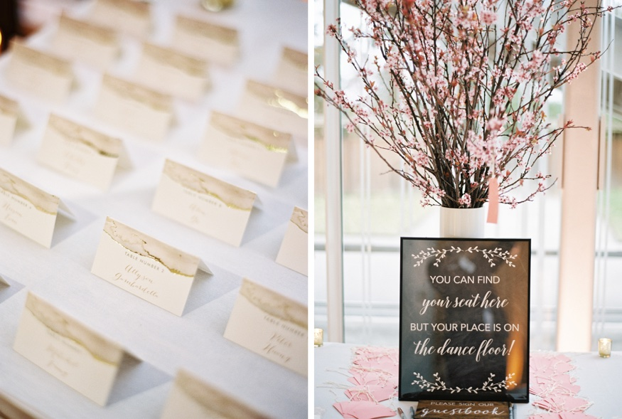 Reception details at Spring Brooklyn Botanic Garden wedding.