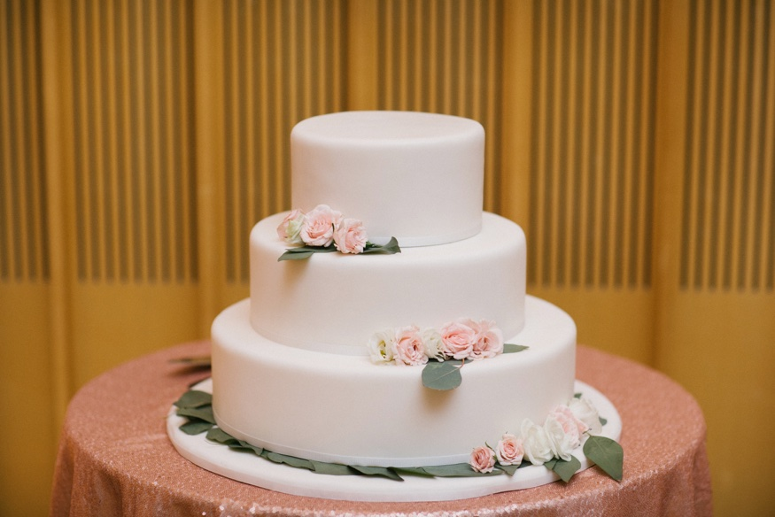 Wedding cake by Patina at Brooklyn Botanic Garden wedding.
